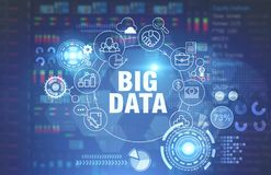 stock image of  big data concept, glowing blue background