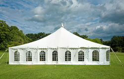 stock image of  white marquee event tent