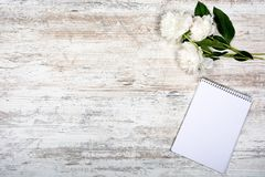 stock image of  white peony and notepad for entries in a cage, lying on an old light table, mocap, flat, romance, top view, copyspace, flatlay