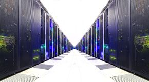 stock image of  white server room network communications server cluster in a server room. . futuristic modern data center