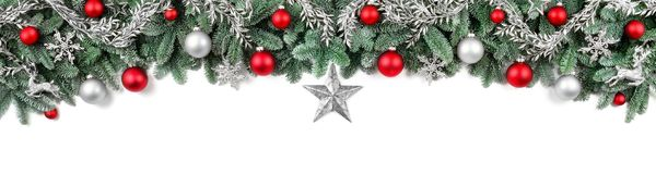 stock image of  wide bow-shaped christmas border
