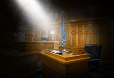 stock image of  witness stand, law, court room, courtroom