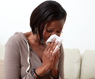 stock image of  woman allergy.