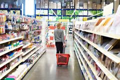 stock image of  woman with basket on wheels in hypermarket