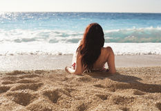 stock image of  woman at the beach