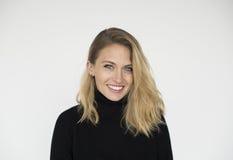 stock image of  woman cheerful studio portrait concept