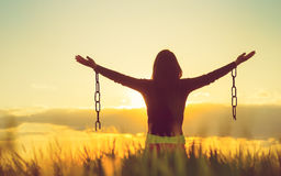 stock image of  woman feeling free in a beautiful natural landscape