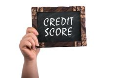 stock image of  credit score on chalkboard