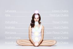 stock image of  woman meditating in lotus position. colored chakra lights over her body. yoga, zen, buddhism, recovery and wellbeing