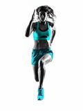 stock image of  woman runner running jogger jogging silhouette