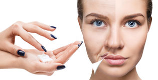 stock image of  woman`s face before and after rejuvenation.