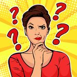 stock image of  woman skeptical facial expressions face with question marks upon head. pop art retro illustration