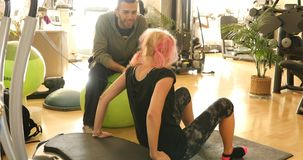 stock image of  woman training biceps