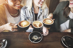 stock image of  women friends enjoyment coffee times concept