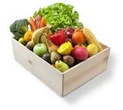 stock image of  wood box food fruit vegetables