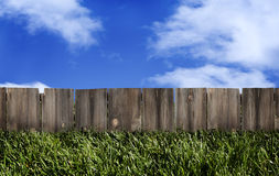stock image of  wood fence blue sky