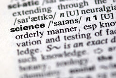 stock image of  the word science in a dictionary