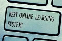 stock image of  word writing text best online learning system. business concept for top high quality elearning techniques keyboard key