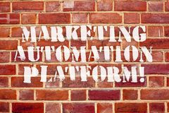 stock image of  word writing text marketing automation platform. business concept for automate repetitive task related to marketing.