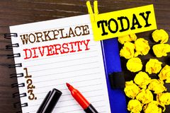 stock image of  word, writing, text workplace diversity. business concept for corporate culture global concept for disability written on notebook