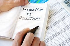 stock image of  words proactive vs reactive organization.