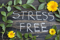 stock image of  words stress free with leaves and marigold flowers