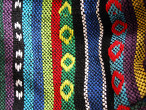 stock image of  woven ethnic fabric, close up