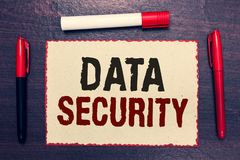 stock image of  writing note showing data security. business photo showcasing confidentiality disk encryption backups password shielding open note