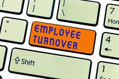 stock image of  writing note showing employee turnover. business photo showcasing number or percentage of workers who leave an organization