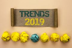 stock image of  writing note showing trends 2019. business photo showcasing current movement latest branding new concept prediction written on ca