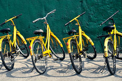 stock image of  yellow bicycles