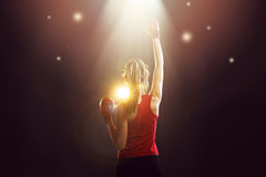 stock image of  young champion woman boxer celebrating