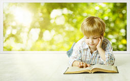 stock image of  young child boy reading book, small children early development