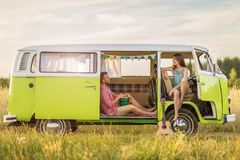 stock image of  young couple out on a road trip