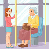 stock image of  young girl offering a seat to an old lady in public transport. vector illustration.