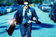 stock image of  young man running