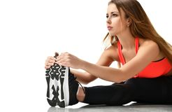 stock image of  young sport woman gymnastics doing stretching fitness exercise workout isolated on a white
