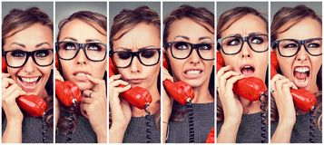 stock image of  young woman changing emotions from happy to angry while answering the phone