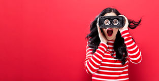 stock image of  young woman using virtual reality headset