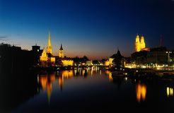 stock image of  zurich at dusk