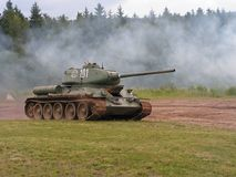 T34 in action. Soviet tank T 34 in action Royalty Free Stock Image
