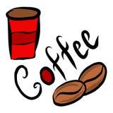 Taça vermelha do café, caneca, café ilustração stock