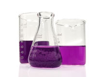Taças do vidro do laboratório Fotografia de Stock Royalty Free