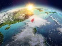 Taïwan de l'espace dans le lever de soleil Photographie stock libre de droits