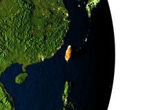 Taïwan de l'espace pendant le crépuscule Image stock