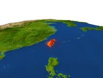 Taïwan en rouge d'orbite Images stock