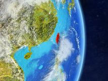 Taïwan sur terre de planète de planète avec des frontières de pays Surface et nuages extrêmement détaillés de planète illustratio illustration stock