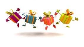 tańczące prezenty szczęśliwi zdjęcia stock