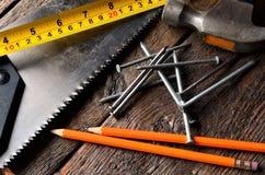 Taśma ołówki i miara Zdjęcie Stock