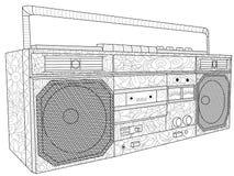 Taśma pokładu lub taśmy maszyny kolorystyki antistress sprzęt elektroniczny Taśma pisak dla kaset wektor royalty ilustracja